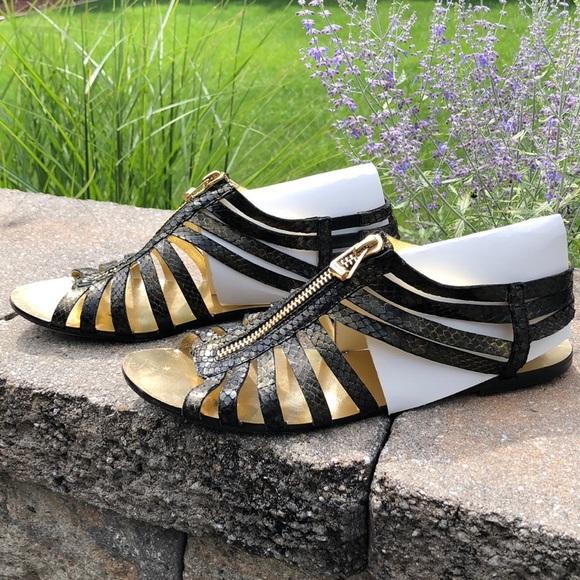 70ba4dade824 Jimmy Choo Shoes - Jimmy Choo Metallic Gold   Black Snakeskin Sandals